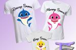 3 Magliette Famiglia Baby Shark Cartoon