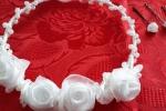 Coroncina con rose in raso e organza