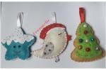 Addobbi albero di Natale in pannolenci e perline
