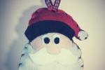 Addobbo natalizio testa Babbo Natale in pannolenci