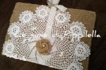 Agenda in tela yuta con centrino crochet bianco