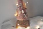 Alberello rosa con piedistallo, in pelliccia ecologica