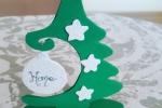 Albero di natale in gomma eva, soprammobile bianco verde