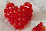 Anello cuore rosso/arancio