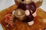 Angioletto porta candela, con piattino in vetro dipinto a mano