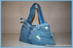 Apollonie: borsa in denim con impunture in cotone