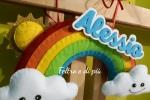 Fiocco di nascita arcobaleno in pannolenci