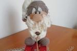 Babbo su slitta realizzato in stoffa e legno