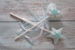 Bacchette magiche principessa in feltro e bastoncino in legno