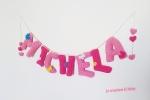Banner nome cameretta uncinetto decorato con farfalline e fiorellini