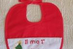 Bavaglino Il mio primo Natale, ricamato a mano