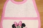 Bavaglino a punto croce personalizzato con baby minnie