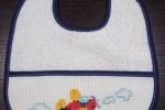 Bavaglino punto croce azzurro aereoplano