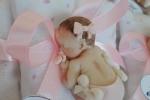 Bebè bimba fimo, bomboniera toni rosa su cuscino