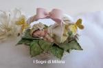 Bebè, bimba in cestino con foglie