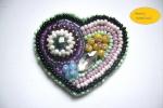 Ciondolo embroidery cuore tessitura a mano su stoffa