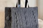 Bellissima borsa in lana realizzata ai ferri, interamente lavorata a mano