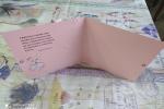 Biglietto realizzato a mano rosa con applicazione scarpetta