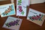 Biglietto d'auguri floreale immagine colorata a mano