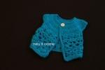 Bolero bebè 0-3 mesi azzurro, in lana, fatto all'uncinetto