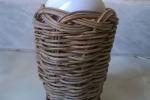 Bomboniera vaso in ceramica rivestito in vimini