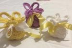 Bomboniere sacchettino gialle lavorate all'uncinetto