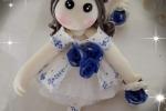 Bomboniera battesimo bambolina azzurra