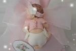 Bomboniere nascita o battesimo  sacchettino rosa con bebè fimo