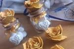 Bomboniere nozze d'oro con rosa in crepla