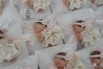 Bomboniere sacchettino bianco con bimba vestita di bianco