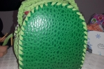 Borsa bauletto verde in fettuccia o cordino in pelle