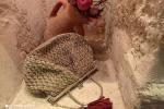 Borsa crochet vintage ecrù