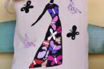 Borsa di cotone fashion dipinta con donna e farfalle