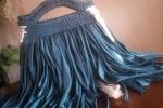 Borsa donna in lycra, con frange colore blu