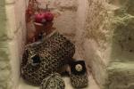 Borsa lavorata a crochet filato cordino Swan colore corda e nero