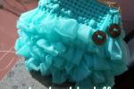 Borsa interamente fatta a mano, in tulle di colore tiffany