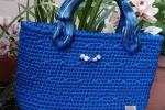 Borsa in cordino bluette handmade, comoda e elegante