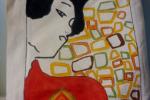 Borsa in cotone dipinta a mano (Klimt)