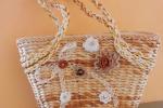 Borsa paglia vintage decorata con fiori uncinetto e nastro