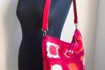 Borsa tracolla crochet boho, handmade, con piastrelle grann