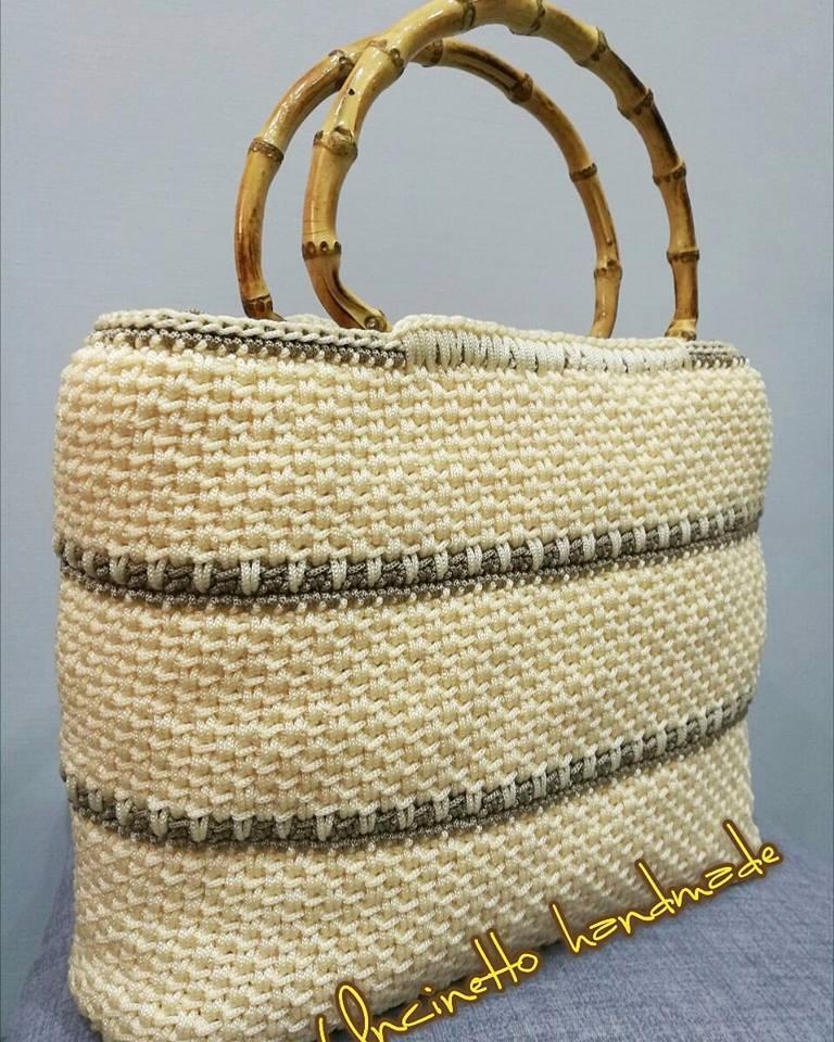 Creazioni Shoppers Borsa Uncinetto Cordino Swan Idea Regalo Bag