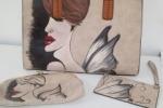 Borsa e pochette donna dipinta a mano