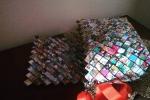 Borsa intrecciata con carta riciclata tracolla rossa