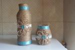 Bottiglia e barattolo vetro decorati multiuso set 2 pezzi