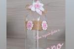Bottiglia vetro decorata a mano e particolari in pannolenci