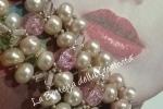 Bracciale alta bigiotteria perle di fiume e vetro murano