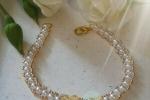 """Bracciale """"Ambra""""donna con perle bianche e cristalli ambra"""