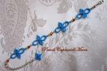 Bracciale azzurro al chiacchierino, cristalli e strass