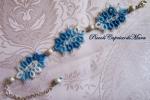 Bracciale azzurro al chiacchierino, perla in Argento 925
