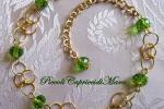Bracciale chainmail in Argento 925 dorato e cristalli verdi